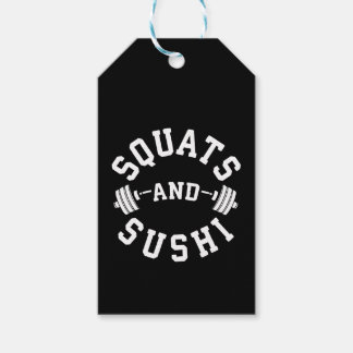 Squats and Sushi - Carbs and Leg Day - Funny Gym Gift Tags