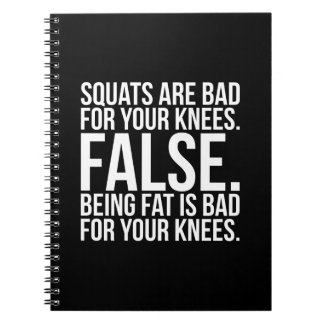 Squats Are Bad For Your Knees? FALSE. Being Fat Is Spiral Notebook