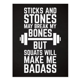 Squats Will Make Me Badass Gym Quote Postcard