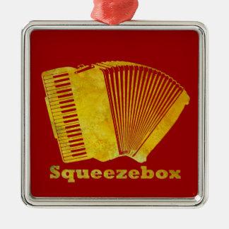 Squeezebox Silver-Colored Square Ornament