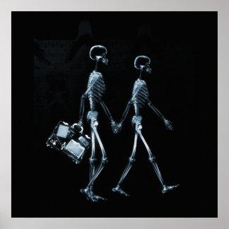 Squelettes de déplacement de vision de rayon X de  Posters