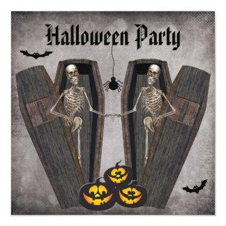 Squelettes heureux en partie de Halloween de Carton D'invitation 13,33 Cm