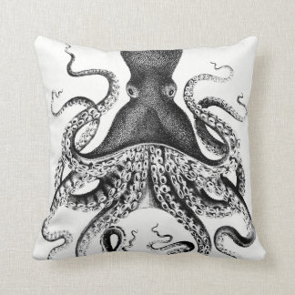 Squid Black and White Throw Pillow