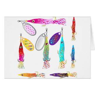 Squid Fishing lure Spinners Vectors Trolling lure Card