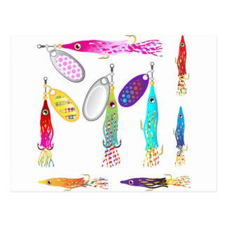 Squid Fishing lure Spinners Vectors Trolling lure Postcard