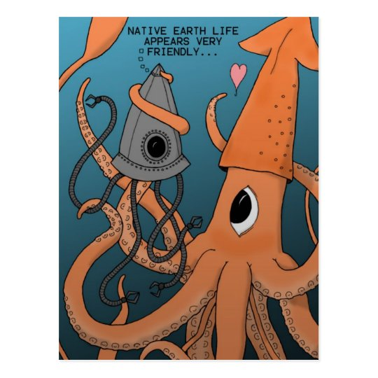 Squid X Alien Robot Postcard