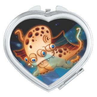 SQUIDDY ALIEN MONSTER CARTOON compactmirror HEART Makeup Mirrors