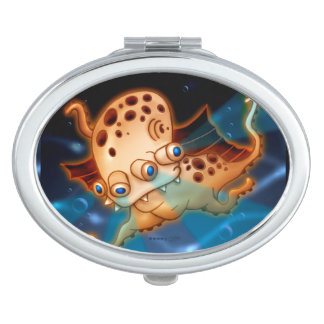 SQUIDDY ALIEN MONSTER CARTOON compactmirror OVAL Travel Mirrors
