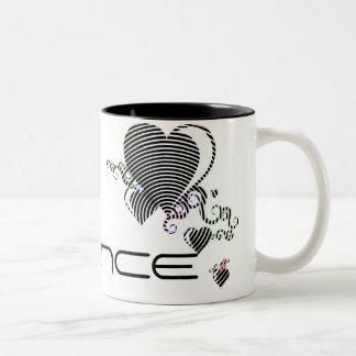 squiggle hearts. trance. Two-Tone coffee mug