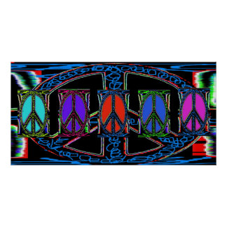Squiggle Peace Sign Windows Poster