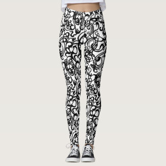 Squiggles (white background) leggings