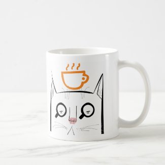 Squinty cat with coffee cup coffee mugs