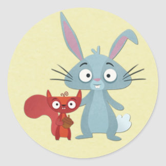 Squirell and Bunny Rabit Buddies Classic Round Sticker
