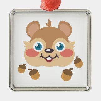 Squirrel & Acorns Silver-Colored Square Ornament