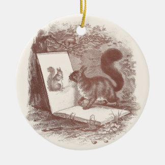 Squirrel Admires Sketch of Self Ceramic Ornament
