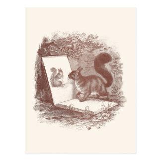 Squirrel Admires Sketch of Self Postcard