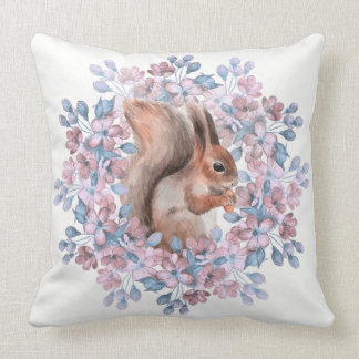 Squirrel and flowers throw pillow