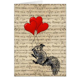 Squirrel and heart balloons card