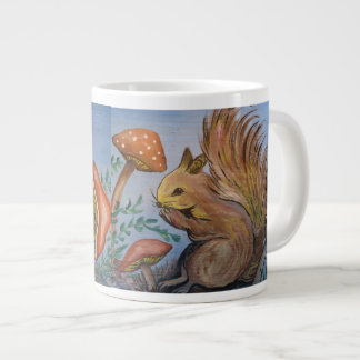Squirrel and Mushrooms Large Coffee Mug