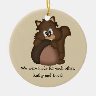 Squirrel and Nut Round Ceramic Ornament