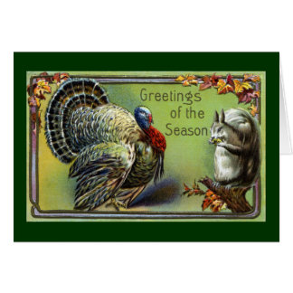 Squirrel and Turkey Vintage Thanksgiving Card