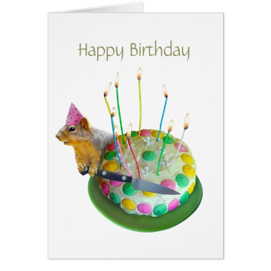 Squirrel Birthday Cake Card