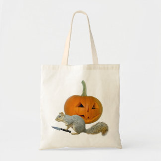 Squirrel Carving Pumpkin Tote Bag