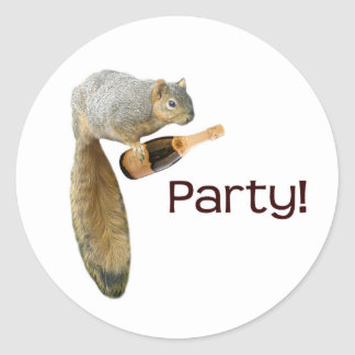Squirrel Champagne Party! Classic Round Sticker