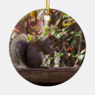 Squirrel Chow Time Ceramic Ornament