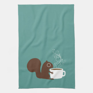 Squirrel Coffee Lover Kitchen Towel
