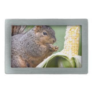 Squirrel Corn Rectangular Belt Buckle