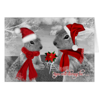 Squirrel Couple in Love   Christmas Romance Card