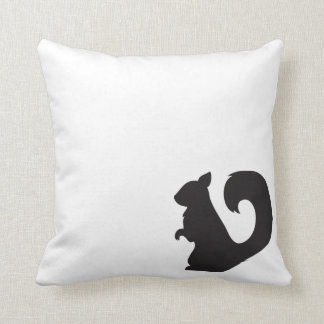 Squirrel critter woodland animal black silhouette throw pillow