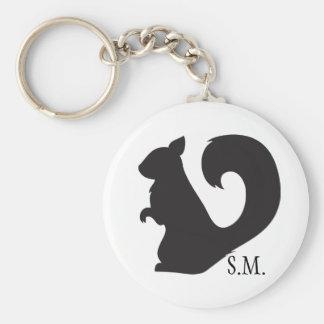 Squirrel critter woodland silhouette initials keychain