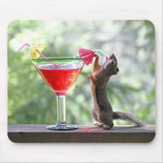 Squirrel Drinking a Cocktail at Happy Hour Mousepad