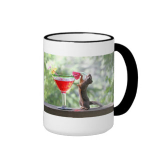 Squirrel Drinking a Cocktail at Happy Hour Coffee Mugs