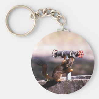 Squirrel drinking basic round button keychain