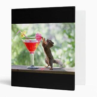 Squirrel Drinking Cocktail Vinyl Binder
