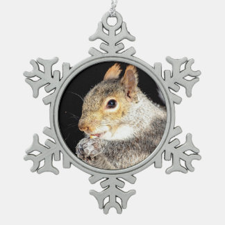 Squirrel eating a nut snowflake pewter christmas ornament