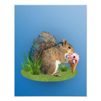 Squirrel Eating Ice Cream Cone Photo