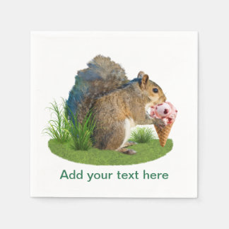 Squirrel Eating Ice Cream Cone, Text Disposable Napkin