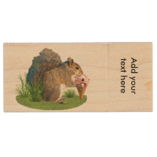 Squirrel Eating Ice Cream Cone Wood USB 2.0 Flash Drive