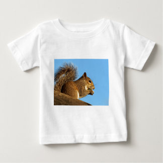 Squirrel Eating in a Tree Against Clear Blue Sky Baby T-Shirt