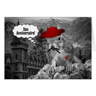 Squirrel French Artist Birthday Card