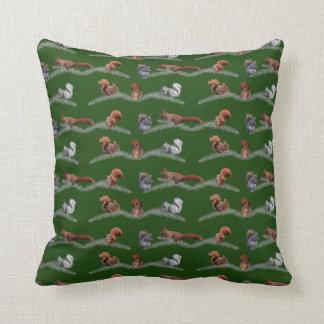 Squirrel Frenzy Pillow (Dark Green)