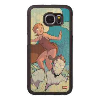 Squirrel Girl Flying With Superior Iron Man Wood Phone Case