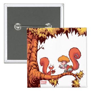 Squirrel Girl Getting Acorn 2 Inch Square Button