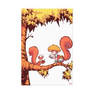 Squirrel Girl Getting Acorn Canvas Print