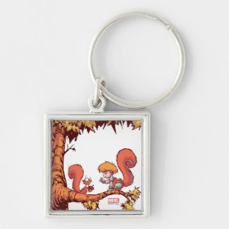 Squirrel Girl Getting Acorn Silver-Colored Square Keychain