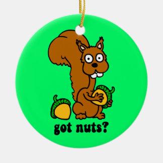 squirrel got nuts round ceramic ornament